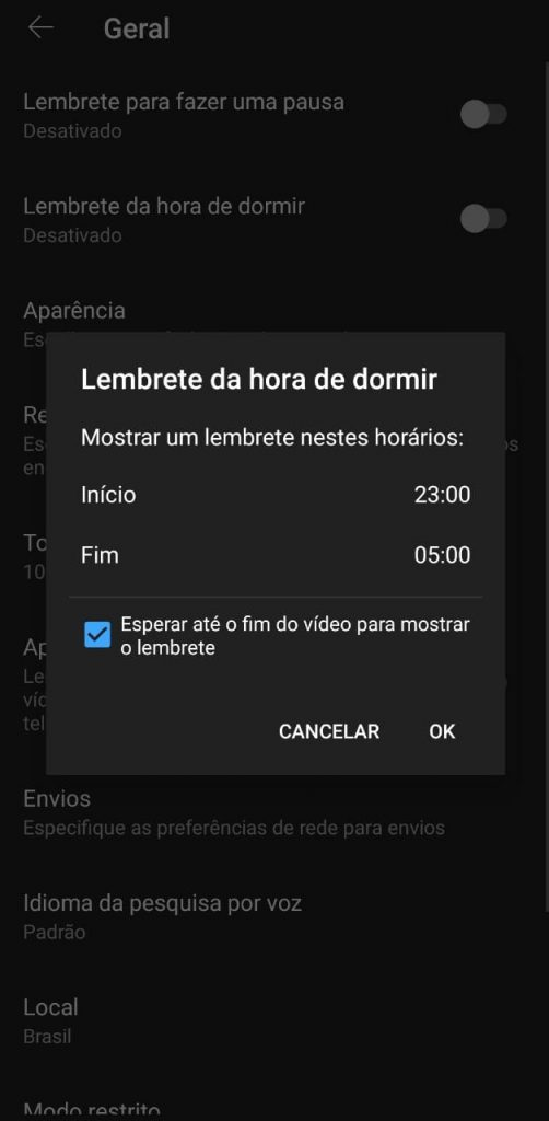 Print do aplicativo do YouTube