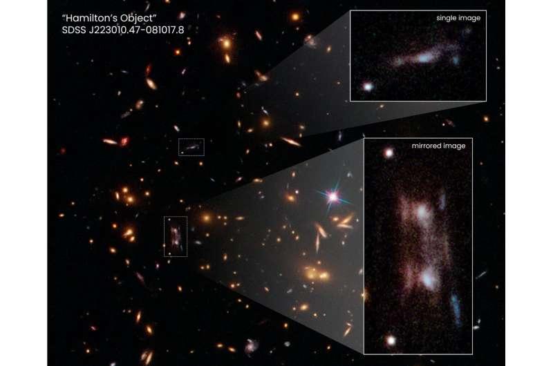 """Imagem mostra detalhes das """"galáxias espelhadas"""", mais um exemplo do efeito de lente gravitacional previsto por Albert Einstein em 1912"""