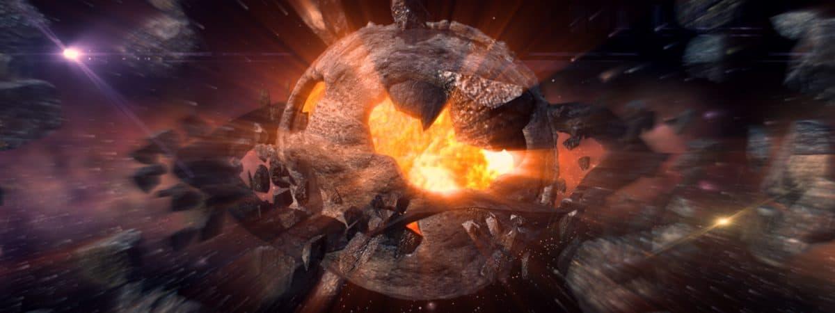 Asteroide explodindo