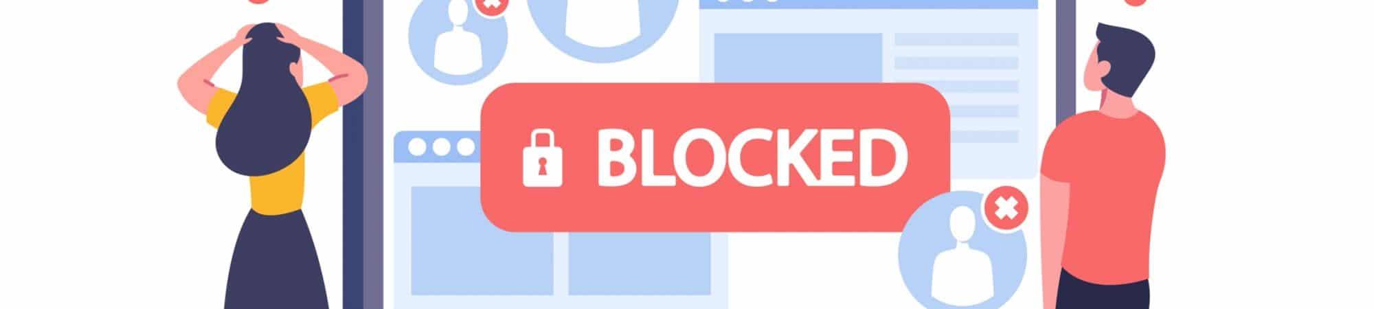 ilustração de um perfil bloqueado nas redes sociais