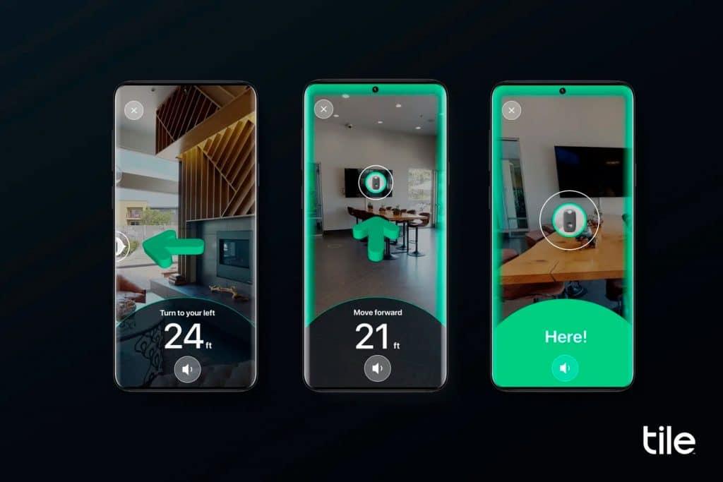 Interface da função de localização com realidade aumentada do Tile Ultra