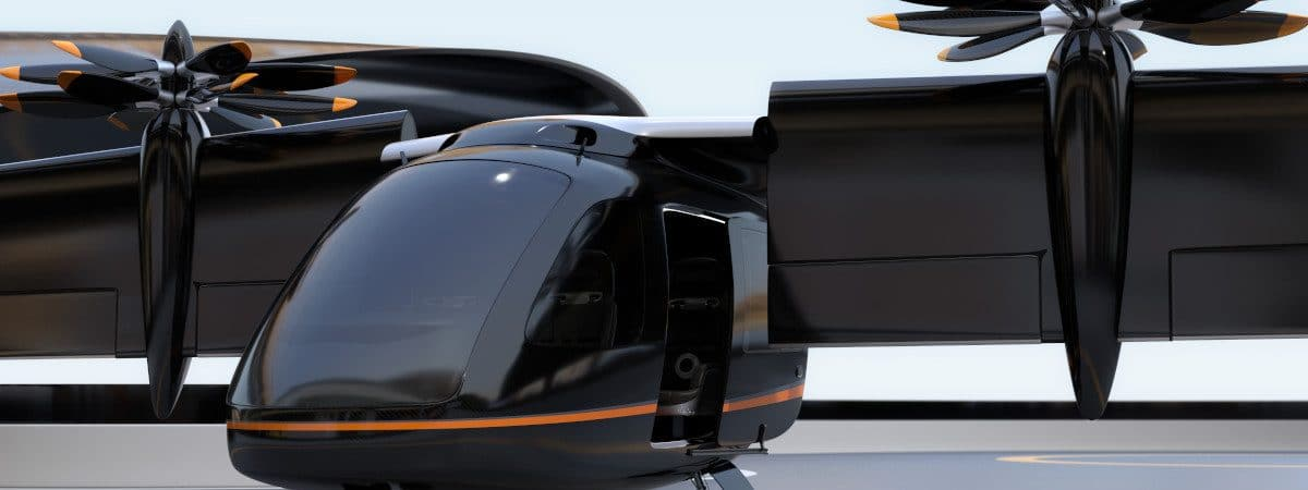 Conceito de aeronave VTOL elétrica, capaz de decolar e pousar verticalmente
